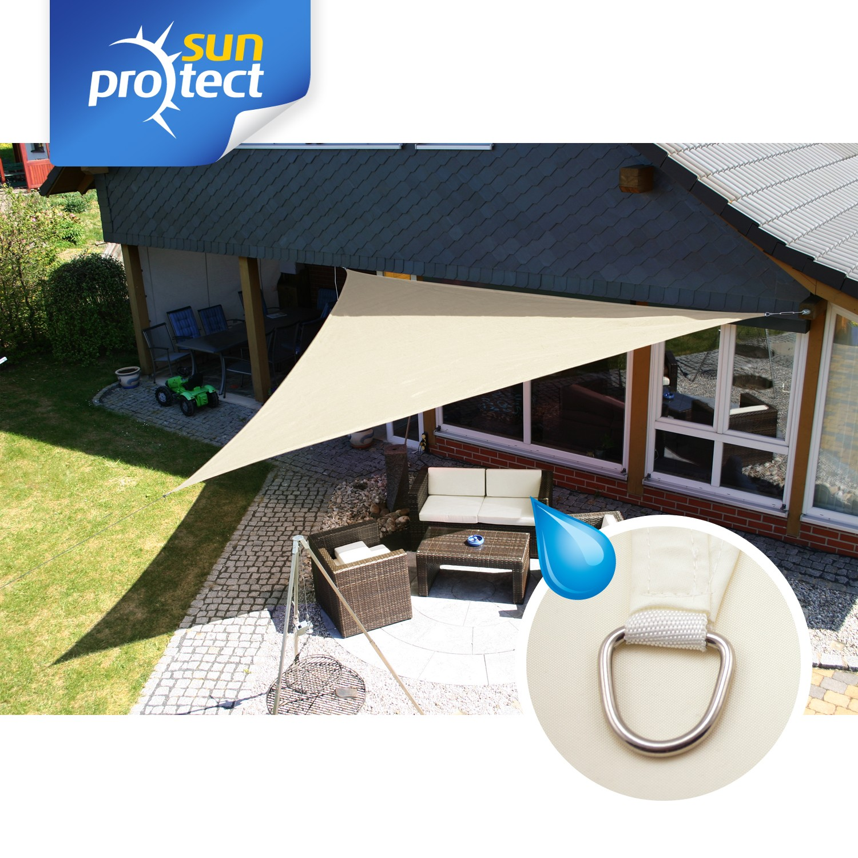 sunprotect sonnensegel waterproof 5 x 5 x 5 m dreieck creme 1 st ck. Black Bedroom Furniture Sets. Home Design Ideas