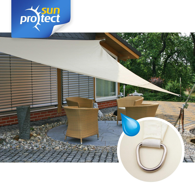 sunprotect sonnensegel waterproof 3 6 x 3 6 x 3 6 m dreieck creme 1 st ck. Black Bedroom Furniture Sets. Home Design Ideas